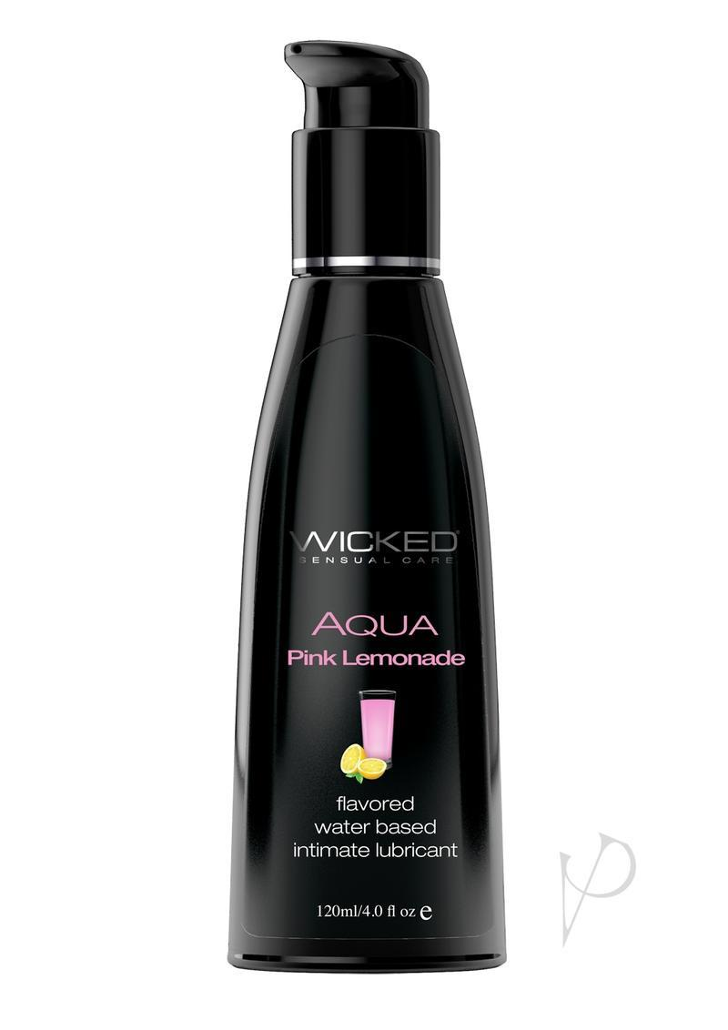 Wicked Aqua Flavored Water Based Lubricant Pink Lemonade 4 Ounce
